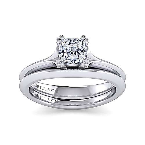 14k White Gold Cushion Cut Solitaire Engagement Ring angle 4