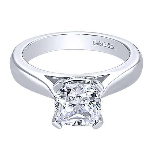 Gabriel - 14k White Gold Cushion Cut Solitaire Engagement Ring