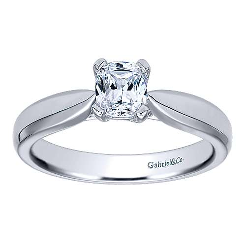 14k White Gold Cushion Cut Solitaire Engagement Ring angle 5