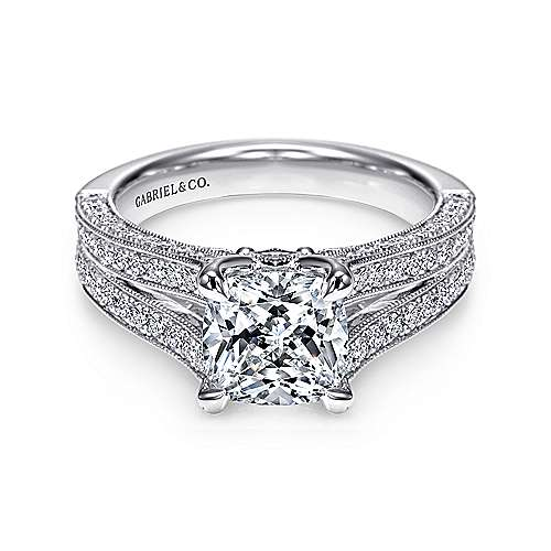 Gabriel - 14k White Gold Cushion Cut Split Shank Engagement Ring