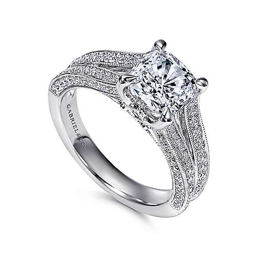 14k White Gold Cushion Cut Split Shank Engagement Ring angle 3