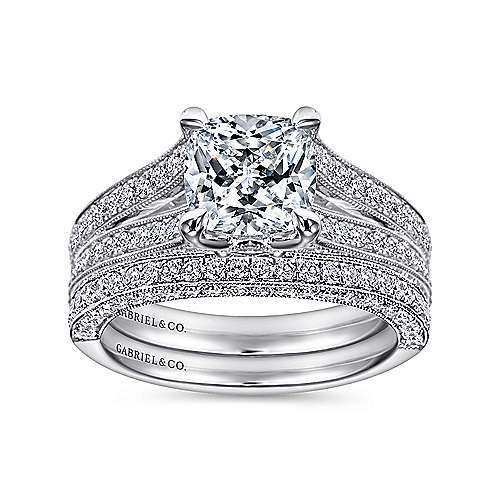 14k White Gold Cushion Cut Split Shank Engagement Ring angle 4