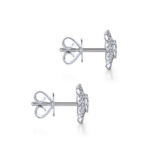 14k White Gold Cushion Cut Starburst Diamond Stud Earrings angle 3