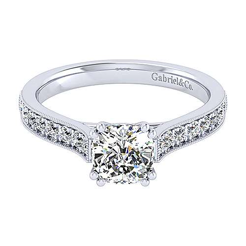 Gabriel - 14k White Gold Cushion Cut Straight Engagement Ring