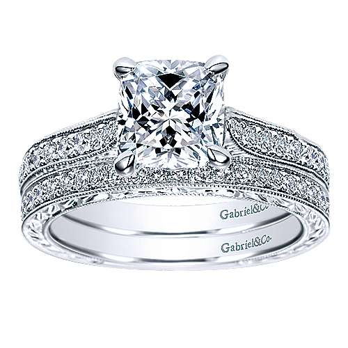 14k White Gold Cushion Cut Straight Engagement Ring angle 4