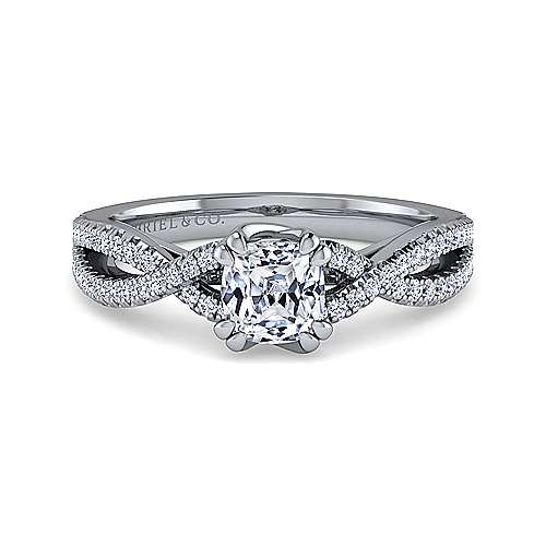 Gabriel - 14k White Gold Cushion Cut Twisted Engagement Ring