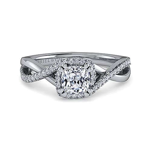 Gabriel - 14k White Gold Cushion Cut Twisted Engagement Ring