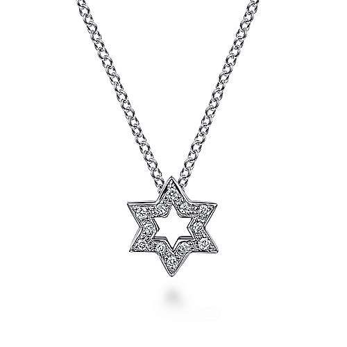 Gabriel - 14k White Gold Cutout Pave Diamond Star of David Necklace