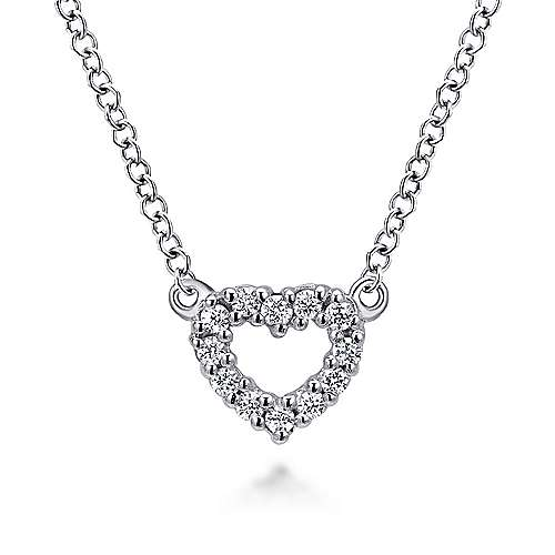 14k White Gold Dainty Diamond Open Heart Necklace