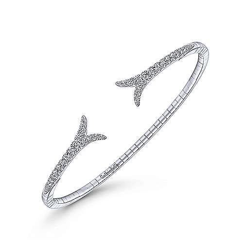 14k White Gold Demure Bangle angle 2