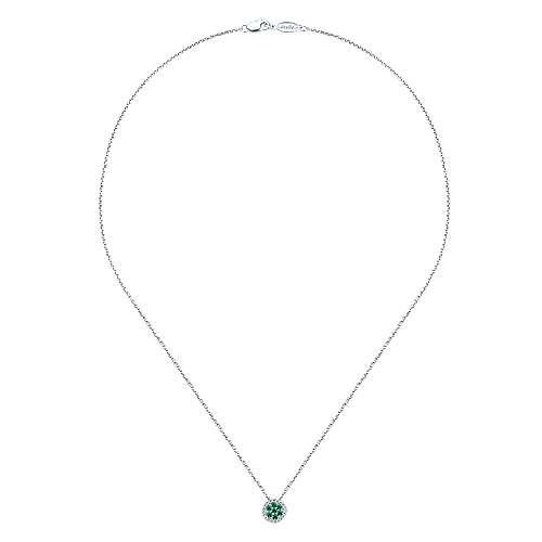 14k White Gold Diamond  And Emerald Fashion Necklace angle 2