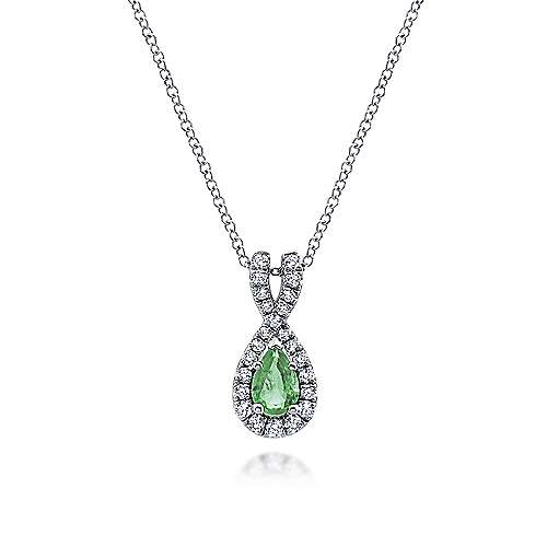 14k White Gold Diamond  And Emerald Fashion Necklace angle 1