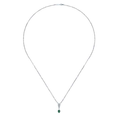 14k White Gold Diamond  And Emerald Fashion Necklace angle 2