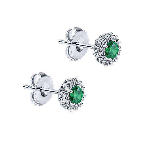 14k White Gold Diamond  And Emerald Stud Earrings angle 2