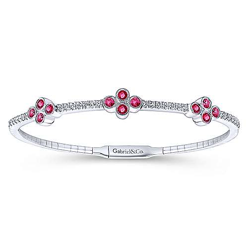 14k White Gold Diamond  And Ruby Bangle angle 1