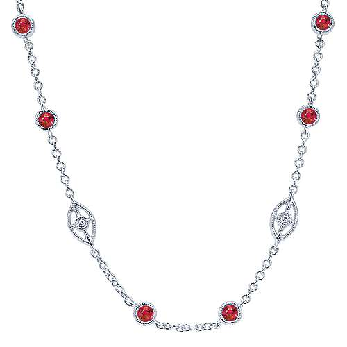 Gabriel - 14k White Gold Victorian Diamond By The Yard Necklace