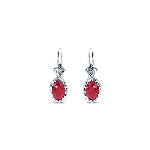 14k White Gold Diamond  And Ruby Drop