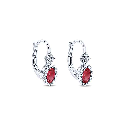 14k White Gold Diamond  And Ruby Drop Earrings angle 2