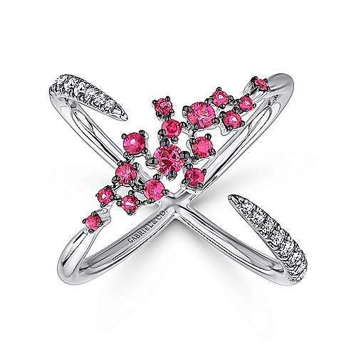 14k White Gold Diamond  And Ruby Fashion Ladies