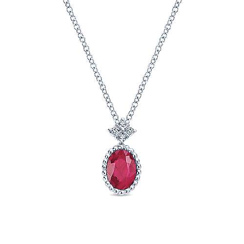 14k White Gold Diamond  And Ruby Fashion Necklace angle 1