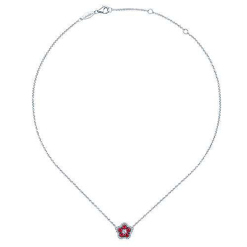 14k White Gold Diamond  And Ruby Fashion Necklace angle 2