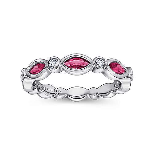 14k White Gold Diamond  And Ruby Stackable Ladies