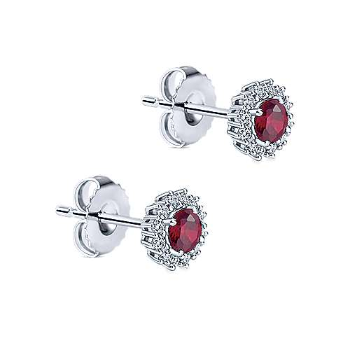 14k White Gold Diamond  And Ruby Stud Earrings angle 2