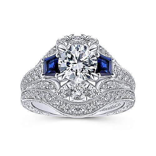 14k White Gold Diamond  And Sapphire 3 Stones Engagement Ring angle 4