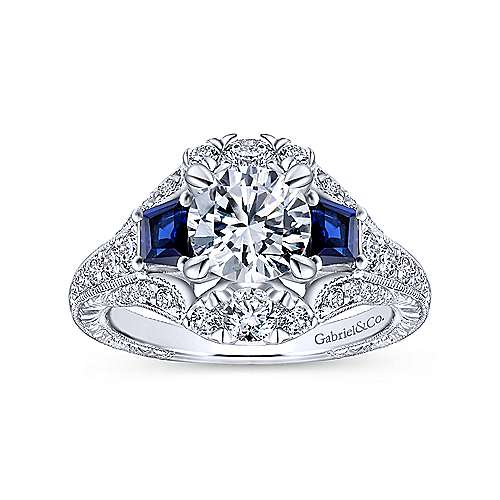 14k White Gold Diamond  And Sapphire 3 Stones Engagement Ring angle 5