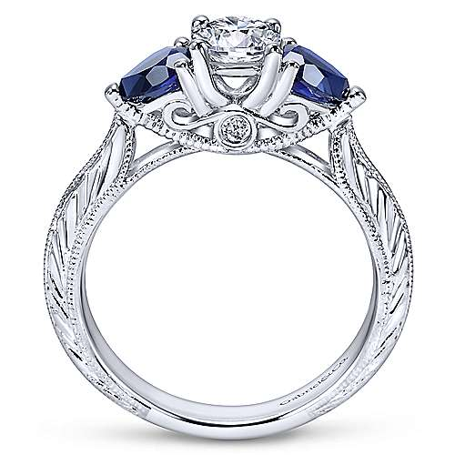 14k White Gold Diamond  And Sapphire 3 Stones Engagement Ring angle 2
