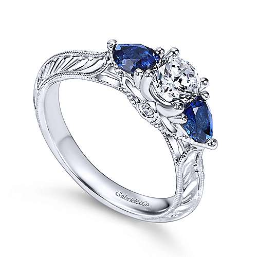 14k White Gold Diamond  And Sapphire 3 Stones Engagement Ring angle 3