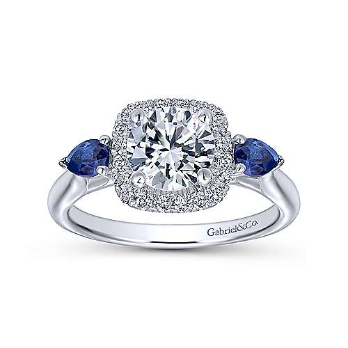 14k White Gold Diamond  And Sapphire 3 Stones Halo Engagement Ring angle 5