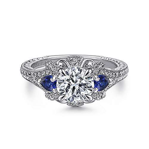 14k White Gold Diamond  And Sapphire 3 Stones Halo Engagement Ring angle 1