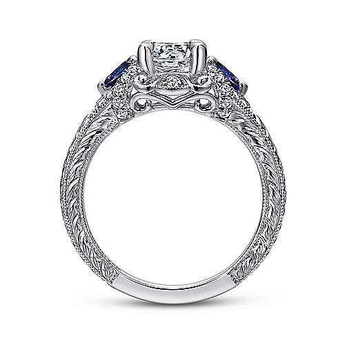14k White Gold Diamond  And Sapphire 3 Stones Halo Engagement Ring angle 2