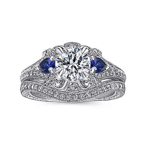 14k White Gold Diamond  And Sapphire 3 Stones Halo Engagement Ring angle 4