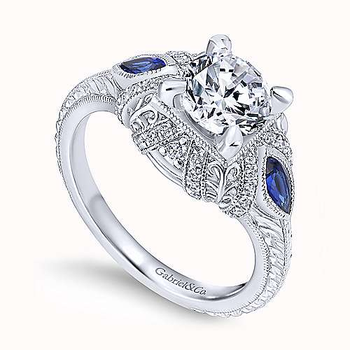 14k White Gold Diamond  And Sapphire 3 Stones Halo Engagement Ring angle 3