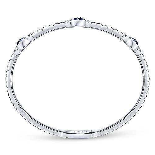 14k White Gold Diamond  And Sapphire Bangle angle 3
