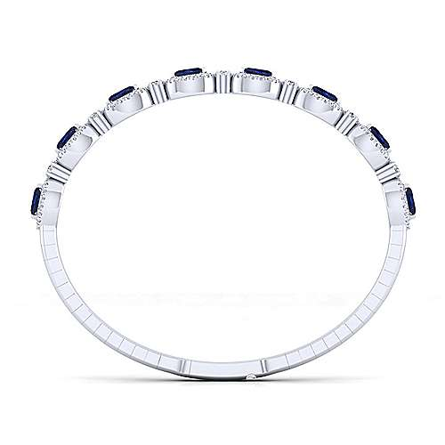 14k White Gold Diamond  And Sapphire Bangle angle 2