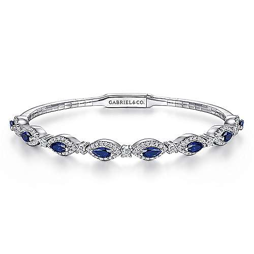 14k White Gold Diamond  And Sapphire