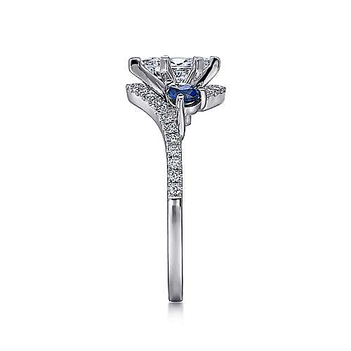 14k White Gold Diamond  And Sapphire Bypass Engagement Ring angle 5