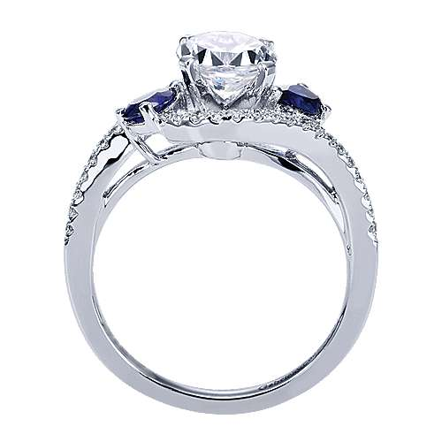 14k White Gold Diamond  And Sapphire Bypass Engagement Ring angle 2