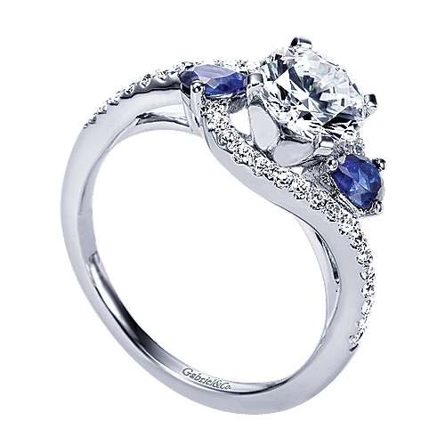 14k White Gold Diamond  And Sapphire Bypass Engagement Ring angle 3