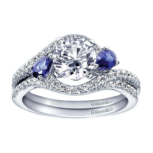 14k White Gold Diamond  And Sapphire Bypass Engagement Ring angle 4