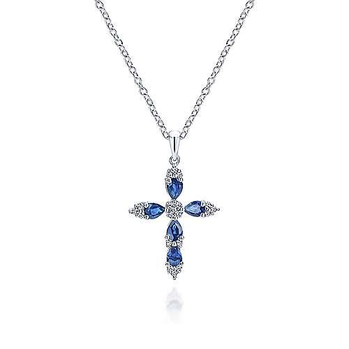 14k White Gold Diamond  And Sapphire Cross Cross Pendant angle 3
