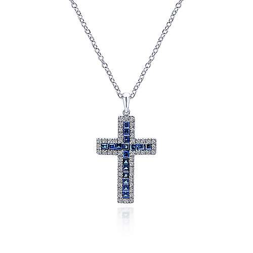 14k White Gold Diamond  And Sapphire Cross Cross Pendant angle 3