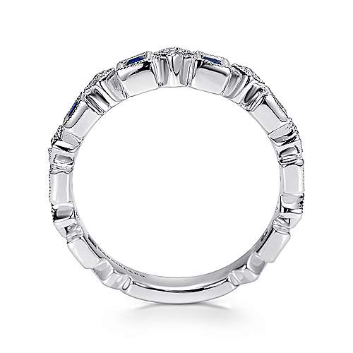 14k White Gold Diamond  And Sapphire Curved Wedding Band angle 2