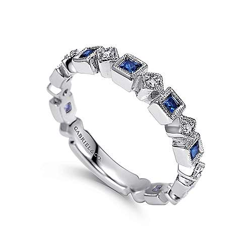 14k White Gold Diamond  And Sapphire Curved Wedding Band angle 3