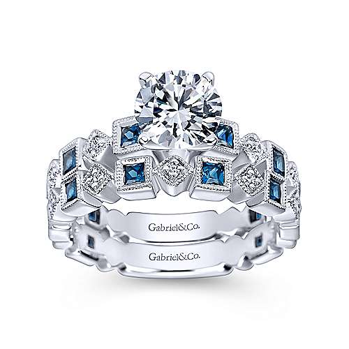 14k White Gold Diamond  And Sapphire Curved Wedding Band angle 4
