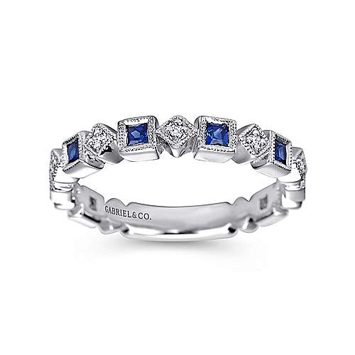 14k White Gold Diamond  And Sapphire Curved Wedding Band angle 5