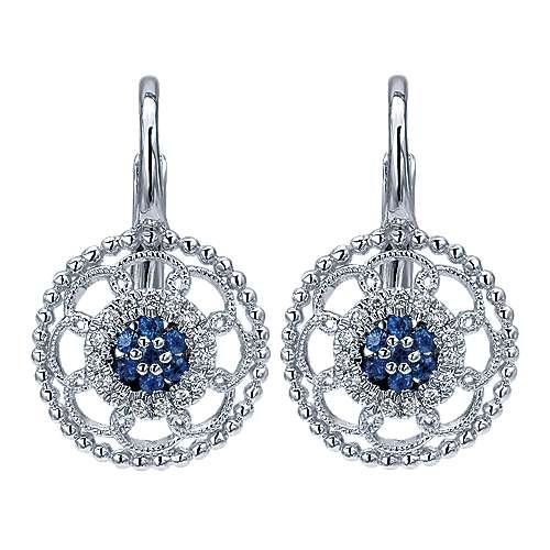 14k White Gold Diamond  And Sapphire Drop